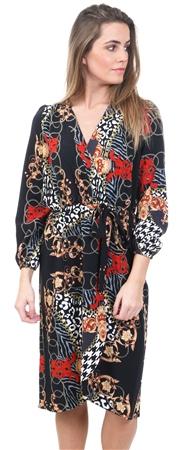 5682db11654 Ax Paris Black Printed V-Neck Wrap Dress
