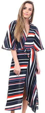 Ax Paris Multi Stripe Midi Wrap Tie Belt Dress  - Click to view a larger image