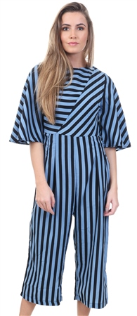 Ax Paris Blue Navy Stripe Cullotte Jumpsuit  - Click to view a larger image
