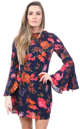 Ax Paris Navy Floral Bell Sleeve Detail Short Dress  - Click to view a larger image