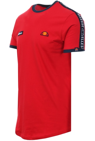 Ellesse Red Fede Short Sleeve Arm Tape T-Shirt  - Click to view a larger image