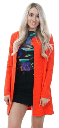 Vila Red / Cherry Tomato Long Textured Jacket  - Click to view a larger image