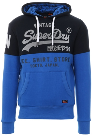 Superdry Navy/Eagle Blue Sweat Shirt Store Panel Hood  - Click to view a larger image