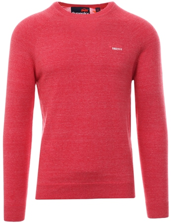Superdry Red Orange Label Cotton Crew Jumper  - Click to view a larger image
