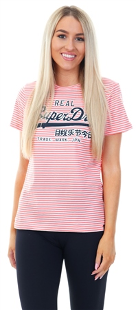 Superdry Optic/Coral Fusion Stripe Vintage Logo Stripe Enry T-Shirt  - Click to view a larger image