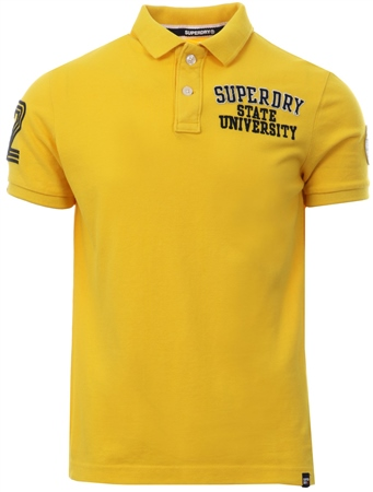 Superdry Gold Classic Superstate Pique Polo Shirt  - Click to view a larger image