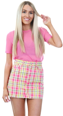 Momokrom Multi Neon Checked Print Skirt  - Click to view a larger image