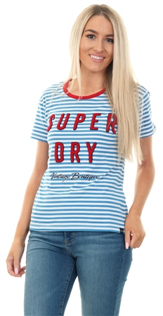 Superdry Chambury Blue Payton Graphic Stripe T-Shirt  - Click to view a larger image