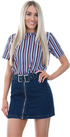 Momokrom Navy Belted Denim Mini Skirt  - Click to view a larger image