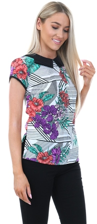 Influence Black Floral Peter Pan Collar Top  - Click to view a larger image
