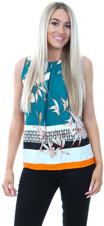 Influence Multi Floral Printed Sleeve Top  - Click to view a larger image