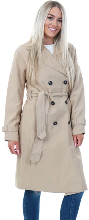Only Stone / Beige Long Button Trench Coat  - Click to view a larger image