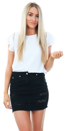 Cutie London White Crochet Frill Short Sleeve Top  - Click to view a larger image