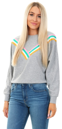 Only Light Grey Melange Front Print Sweatshirt  - Click to view a larger image
