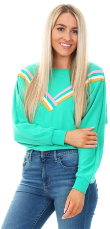 Only Simply Green Front Print Sweatshirt  - Click to view a larger image