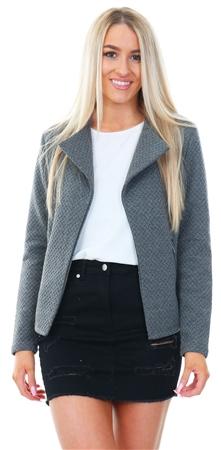6dbe43aee22 Vila Grey Naja Textured Long Sleeve Jacket - Click to view a larger image
