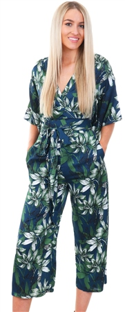 Mela Navy Floral Kimono Jumpsuit  - Click to view a larger image