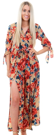 Mela Tan Floral Print Tie Sleeve Split Jumpsuit  - Click to view a larger image