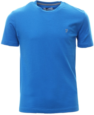 Farah Jay Blue Short Sleeve Fitted Logo T-Shirt  - Click to view a larger image