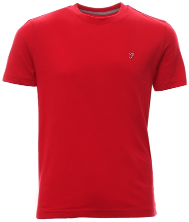 Farah Tango Red Short Sleeve Fitted Logo T-Shirt  - Click to view a larger image