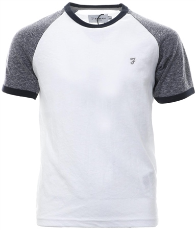 Farah Bright White Contrast Short Sleeve Logo T-Shirt  - Click to view a larger image