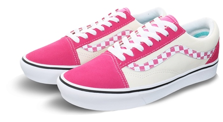 Vans Pink Check Comfycush Old Skool Shoes  - Click to view a larger image