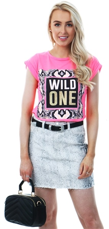 Parisian Neon Pink Snake Print Wild One T-Shirt  - Click to view a larger image