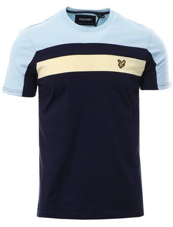 Lyle & Scott Navy Colour Block Short Sleeve T-Shirt  - Click to view a larger image