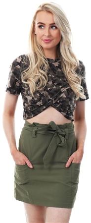Parisian Khaki Paperbag Waist Tie Mini Skirt  - Click to view a larger image