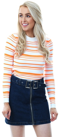 Qed Neon Orange Stripe Rib Knit Jumper  - Click to view a larger image