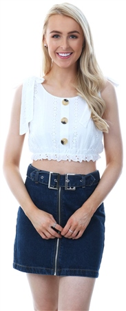 Parisian White Cropped Button Tie Crochet Top  - Click to view a larger image