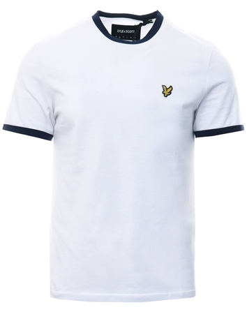 Lyle & Scott White Short Sleeve Ringer T-Shirt  - Click to view a larger image