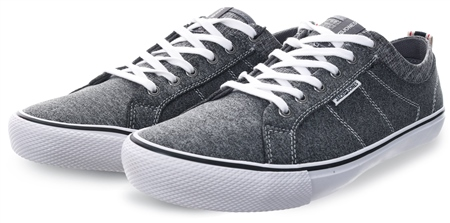 Jack & Jones Grey Melange Canvas Lace Up Sneakers  - Click to view a larger image