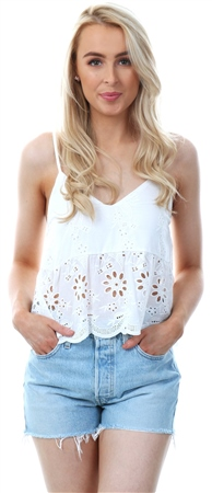 Parisian White Strappy Crochet Crop Top  - Click to view a larger image