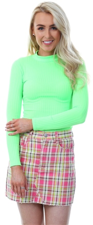 Parisian Neon Green High Neck Long Sleeve Bodysuit  - Click to view a larger image