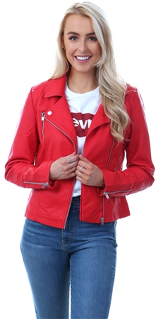 Only Mars Red Gemma Leather Look Jacket  - Click to view a larger image