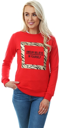 Parisian Red Foil Zebra Print Round Neck Sweatshirt  - Click to view a larger image