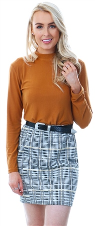 Missi London Multi Houndstooth Mini Skirt  - Click to view a larger image
