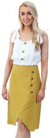Style London Yellow Button Up Midi Wrap Skirt  - Click to view a larger image