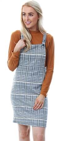 Missi Lond Yellow / Black Check Pinafore Short Dress  - Click to view a larger image
