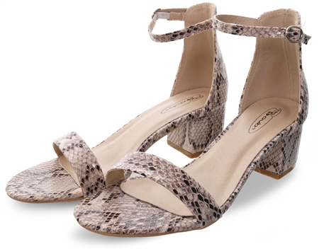 No Doubt Snake Open Toe Block Heel Shoe  - Click to view a larger image