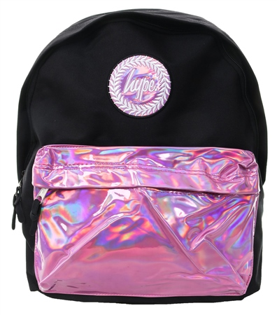 Hype Black With Pink Holo Pocket Backpack  - Click to view a larger image