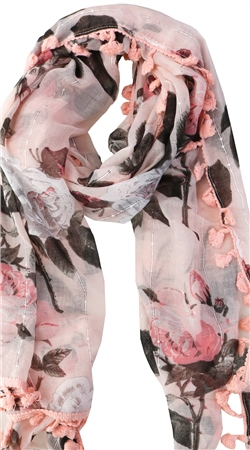 Pia Rossini Blush Amora Sequin Floral Print Scarf  - Click to view a larger image
