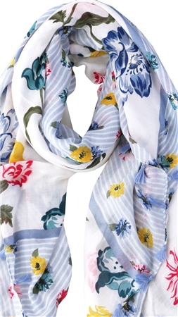 Pia Rossini Blue Azalea Floral Print Scarf  - Click to view a larger image