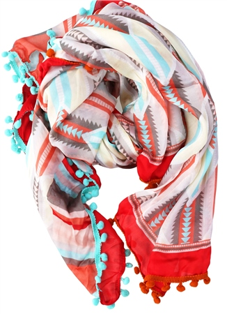 Pia Rossini Red Astro Printed Pattern Scarf  - Click to view a larger image