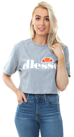 Ellesse Grey Alberta Cropped Short Sleeve T-Shirt  - Click to view a larger image