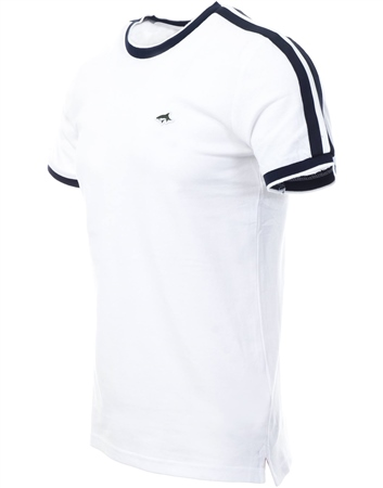Le Shark Bright White T-Shirt With Sleeve Panels  - Click to view a larger image