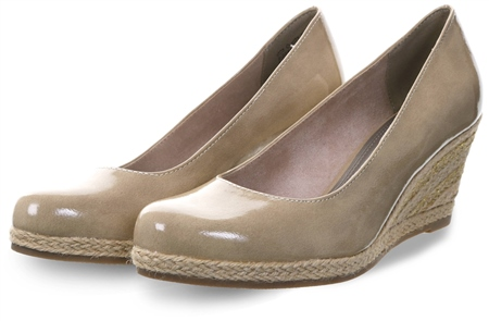 Marco Tozz Nude Slip On Wedge Heel Shoe  - Click to view a larger image