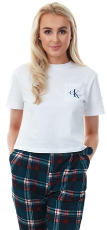 7ab5f9e9 Calvin Klein Bright White Cotton Cropped Logo T-Shirt - Click to view a  larger