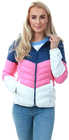 Only Blue / Navy Peony Contrast Quilted Jacket  - Click to view a larger image